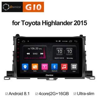 Штатная магнитола Ownice G10 S1601E для Toyota Highlander, 2015 (Android 8.1)