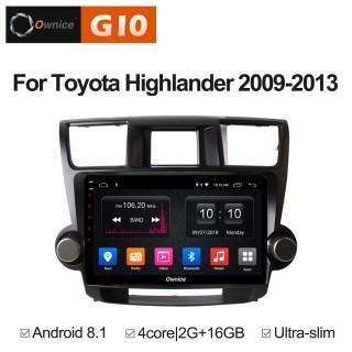 Штатная магнитола Ownice G10 S1616E для Toyota Highlander, 2009 (Android 8.1)